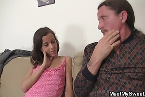 Hot dame seduces age-old paterfamilias buy pussy trample