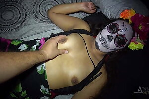 Halloween party ends up hardcore for this teen latina
